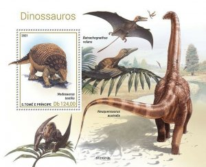 Sao Tome & Principe 2021 MNH Dinosaurs Stamps Prehistoric Animals 1v S/S