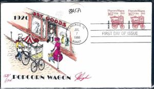 Beautiful Pugh Designed and Painted FDC Popcorn Wagon 1988  #124 of only 174
