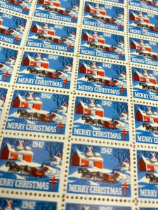 1942 American Lung Association Christmas seals pretty sleigh scene many stamps