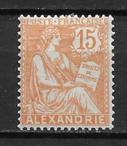 France Offices in Egypt - Alexandria 22 15c single MH