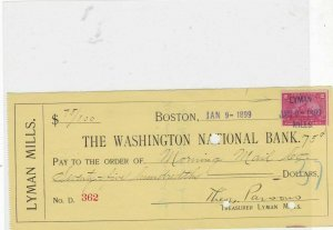 united states 1899 bank cheque with revenue stamp ref 20710