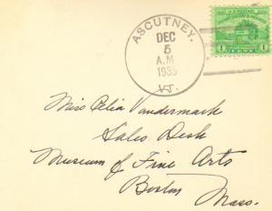 United States Vermont Ascutney 1935 4c-bar  Postcard.
