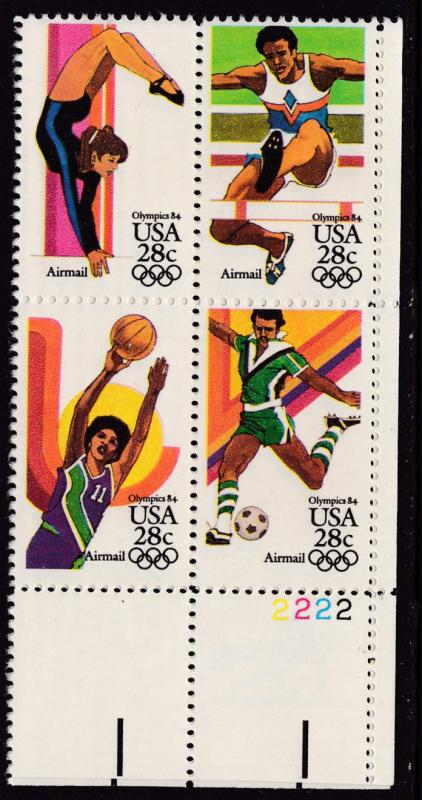 United States 1980 28cent OLYMPIC Games Soccer  Plate Number Block. VF/NH