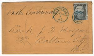 U.S., Scott #73 Used on Cover to Baltimore, MD, 2 Blue Postal Markings