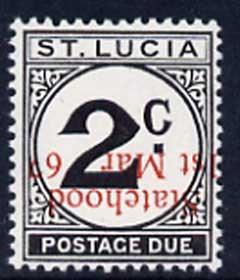 St Lucia 1967 Postage Due 2c 'Statehood' opt in red (inve...