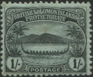 Solomon Islands 1908 SG14 1/- black/green Canoe toned back MLH