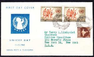 India Scott 334  addressed & postally used FDC, tied also with Scott 304.