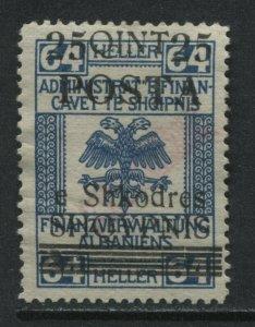 Albania 1919 25 qintars on 64 heller unused no gum