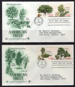 US 1764-1767 Trees PCS Artcraft Variety Set of Two Typed FDCs