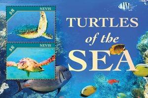 2021/01 - NEVIS - SEA TURTLES             2V  complet set    MNH ** T