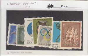 J25843  jlstamps 1968 greece set mnh #909-15 olympics, all checked & sound
