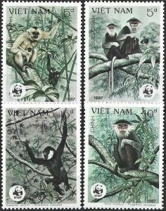 1987 Vietnam WWF, Naturschutz, Affen, MiNr. 1827-1830 ** KAT 9€ SCHÖN!