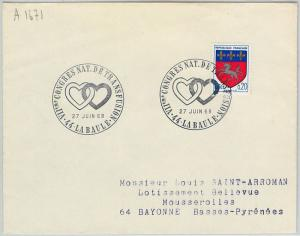 61684 - FRANCE - POSTAL HISTORY - POSTMARK 1968: BLOOD DONORS Hearts TRANSFUSION