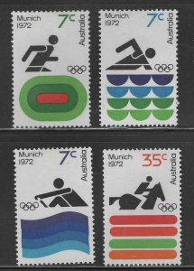 AUSTRALIA Scott 527-530 MH* Munich Olympics 1972 stamp set