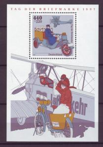 Z484 Jlstamps 1997 germany s/s mnh #b819 bi-plane mail