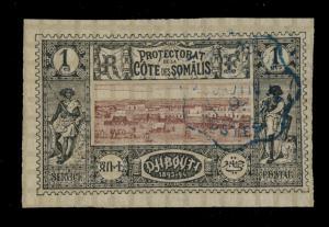 CÔTE FRANÇAISE DES SOMALIS - N°6 OBLITÉRÉ DJIBOUTI (CAD ONDULÉ BLEU 1895)