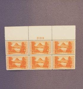 748, ,Glacier National Park, Plate Block of 6, Mint OGNH, CV $35.00