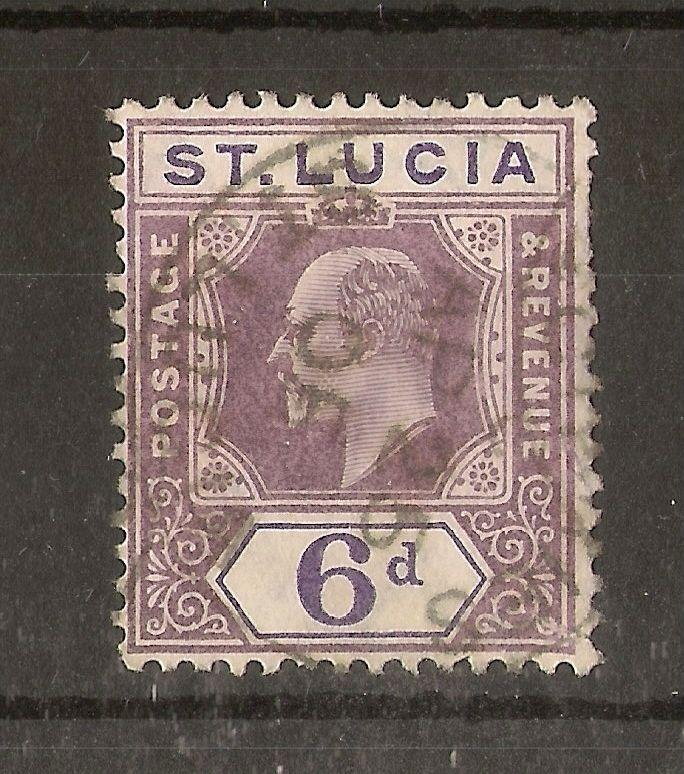 St Lucia 1904-10 6d Purple SG72/shade fine used cat £38
