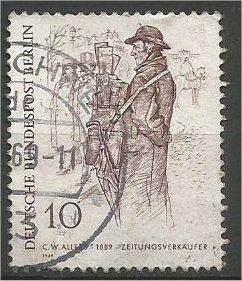 BERLIN, 1969, used 10pf Newspaper Vendor Scott 9N268