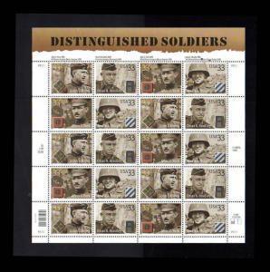 # 3393-3396 Distinguished Soldiers 33¢ Sheet 2000  MNH