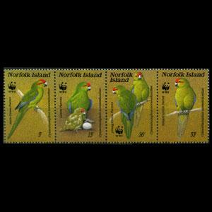 NORFOLK IS. 1987 - Scott# 421 WWF-Parrot Set of 4 NH