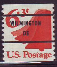 Wilmington DE, 1518-81 Bureau Precancel, 6.3¢ coil Liberty Bell