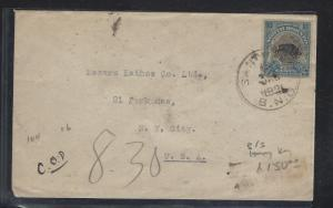 NORTH BORNEO (PP1504B) 10C BOAR 1931 SINGLE FRANK SANDAKAN VIA HONG KONG TO USA