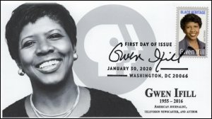 20-019, 2020, Gwen Ifill, Pictorial Postmark, FDC, Black Heritage, Journalist