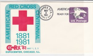 USA COMPEX Amer. Red Cross Centennial 1981 Illust & Slogan Stamp Cover Ref 38099