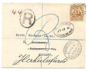 TURKS & CAICOS 1901 4d Ship on registered cover to Hungary - T1 cancel....32999A