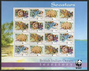 British Indian Ocean Territory 231-4 2001 WWF m/s set MNH