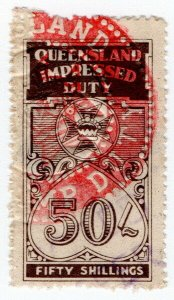 (I.B) Australia - Queensland Revenue : Impressed Duty 50/-