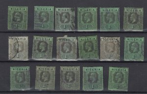 Nigeria KGV 1914/29 1/- Collection Of 17 (Shades) Study/Research SG8 Used JK2407