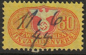 Stamp Germany Revenue WW2 Fascism War Occupation Medical I 060 Invalid Used