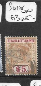 MALAYA STRAITS SETTLEMENTS (P0109B) QV $5.00 SG105  VFU