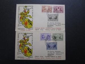 Belgium 1957 Semi Postal Series FDC (2 Covers) - Z7543
