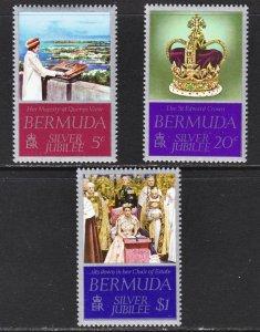 Bermuda QE II Silver Jubilee Scott 347-49 complete set F to VF mint OG NH.