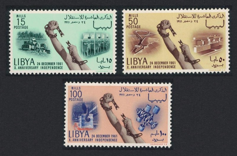 Libya Tractor Metallurgy Tenth Anniversary of Independence 3v SG#266-268