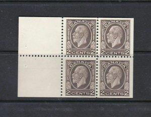 CANADA - 1932 - KG V TWO CENT MEDALLION BOOKLET PANE - SCOTT 196a - MH