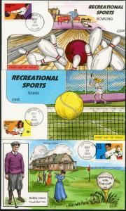 #2961-65 (5) DIFF RECREATIONAL SPORTS HAND PAINTED FDC CHT BY COLLINS BP7746