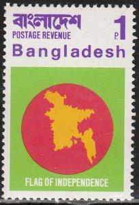 BANGLADESH 4, INDEPENDENCE FLAG. UNUSED, LH. VF. (328)