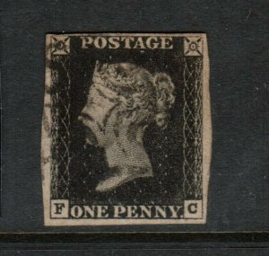 Great Britain #1 Used Fine - Very Fine - Four Margins