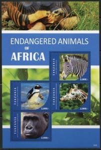 TANZANIA 2016  ENDANGERED ANIMALS OF AFRICA SHEET  I MINT NH