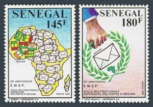 Senegal 893-894,MNH.Mi 1093-1094. Multinational Postal School,20th Ann.1990.Map.