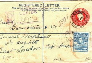 BASUTOLAND Cover *Leribe*Registered South Africa East London H&G2a 1941 WW2 LS27
