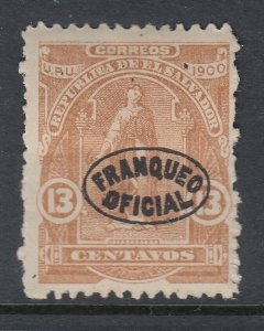 El Salvador 1900 13c Yellow Brown Official Overprint M Mint. Scott O229
