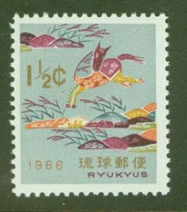 RYUKYU Scott 139 MNH** Year of Horse OPT stamp 1965