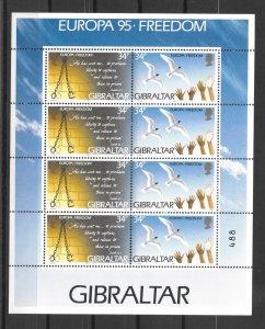 GIBRALTAR MNH SOUV. SHEETS SC#679A EUROPA 95 FREEDOM SCV$16.00