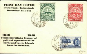 TURKS & CAICOS FDC Centenary KGVI First Day Cover 1948{samwells-covers}PB325