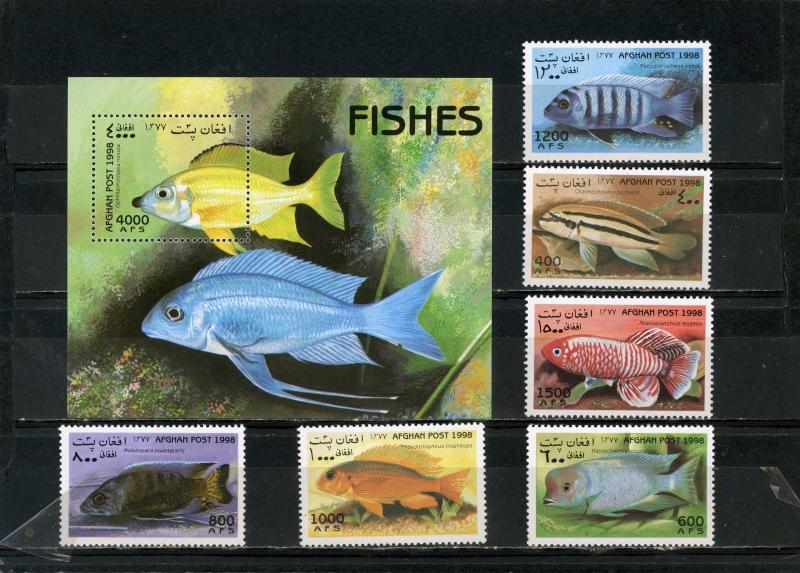 AFGHANISTAN 1998 Mi#1805-1810,Bl.104 FISH SET OF 6 STAMPS & S/S MNH